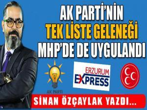 AK Parti'nin tek liste geleneği MHP'de de uygulandı...