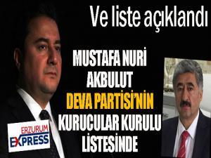 Akbulut, DEVA Partisi'nin kurucular kurulu listesinde...