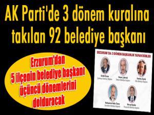 Erzurum'dan 5 ilçenin belediye başkanı üçüncü dönemlerini dolduracak