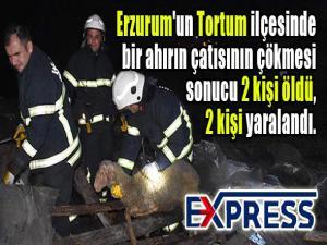 Erzurum'un Tortum ilçesinde bir ahırın çatısının çökmesi sonucu 2 kişi öldü, 2 kişi yaralandı.