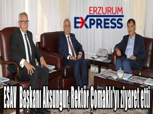 ESAV Genel Başkanı Veysel Karani Aksungur, Rektör Prof. Dr. Ömer Çomaklı'yı ziyaret etti.