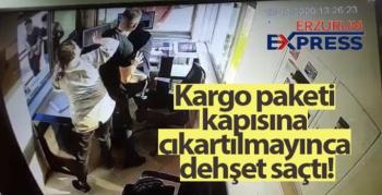Kargo paketi kapısına çıkartılmayan kadın dehşet saçtı