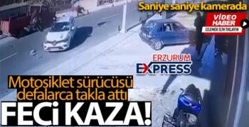 Motosiklet sürücüsünün ölümden döndüğü feci kaza kamerada