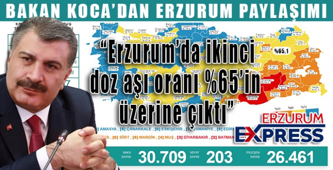 """Sağlık Bakanı Koca: """"Erzurum'da ikinci doz aşı oranı %65'in üzerine çıktı"""""""