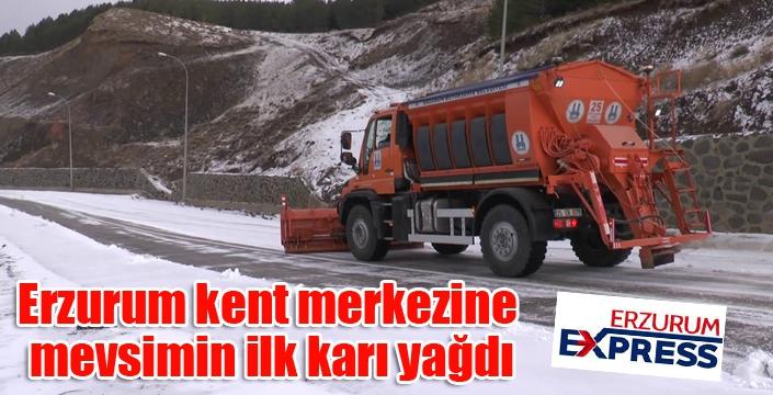 Erzurum kent merkezine mevsimin ilk karı yağdı