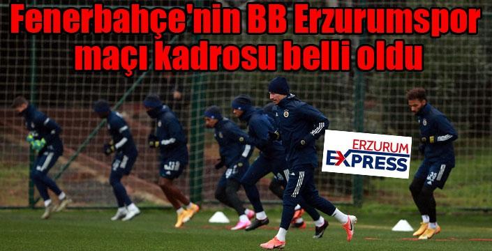 Fenerbahçe'nin BB Erzurumspor maçı kadrosu belli oldu