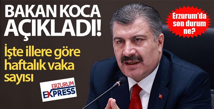 Sağlık Bakanı Koca, illere göre haftalık korona virüs vaka sayılarını açıkladı